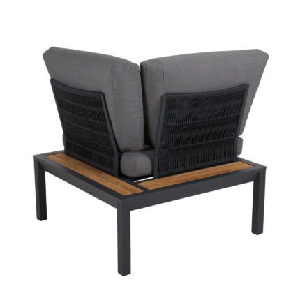 """Brafab """"Elora"""" Lounge-Eckteil, Aluminiumgestell schwarz mit Teak-Ablagen, Rückenlehne mit Rope-Bespannung, Polster Olefin grau"""