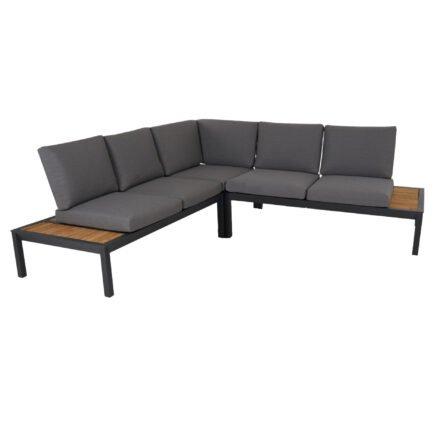 """Brafab """"Elora"""" Loungegruppe 3-tlg., Aluminiumgestell schwarz mit Teak-Ablagen, Rückenlehne mit Rope-Bespannung, Polster Olefin grau"""
