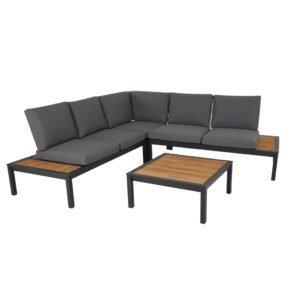 """Brafab """"Elora"""" Loungegruppe 4-tlg., Aluminiumgestell schwarz mit Teak-Ablagen, Rückenlehne mit Rope-Bespannung, Polster Olefin grau"""