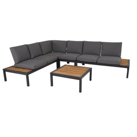 """Brafab """"Elora"""" Loungegruppe 5-tlg., Aluminiumgestell schwarz mit Teak-Ablagen, Rückenlehne mit Rope-Bespannung, Polster Olefin grau"""