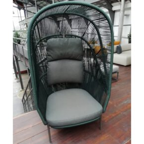 "DEDON ""RILLY"" Cocoon Chair, Rope 156 teal melange, Dry+ Kissenset, Ausstellung Karlsruhe"