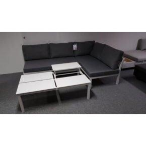 "Home Islands ""Akina/Liem"" Loungeset 3-teilig, Alumimium weiß, Polster domestic grey, Tischplattenmodule höhenverstellbar, Ausstellung Lauchringen"