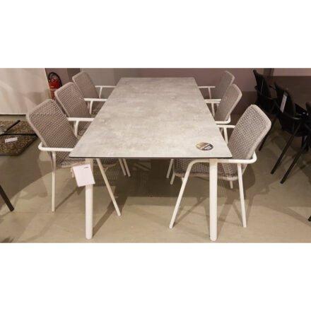 """Jati&Kebon """"Durham"""" Set, Gestell Alu weiß, Rope light grey melange, Tischplatte HPL Granit hell, 220x100 cm, Ausstellung Lauchringen"""
