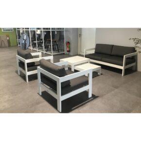 "Jati&Kebon ""Vigo"" Loungeset, Aluminium weiß, Kissen charcoal, Ausstellung Stockach"