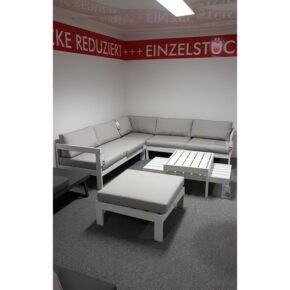 "Jati&Kebon ""Vigo"" Loungeset, Aluminium weiß, Kissen shingles, Ausstellung Lauchringen"