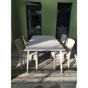 "DEDON Gartemöbel-Set ""PANAMA/WA"", Stühle DEDON Faser ecru, Kissen sand, Tischgestell Aluminium lipari, Tischplatte Edelstahl slim box lipari, Ausstellung Stockach"
