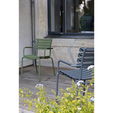 """Houe """"ReClips"""" Gartenstuhl, Aluminium/Lamellen sky blue und olive green"""