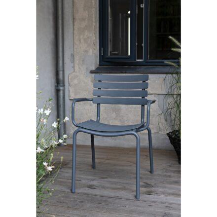 "Houe ""ReClips"" Gartenstuhl, Gestell Aluminium blau, Lamellen aus recyceltem Kunststoff, blau"