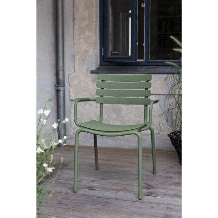 "Houe ""ReClips"" Gartenstuhl, Gestell Aluminium olive green, Lamellen aus recyceltem Kunststoff, olive green"