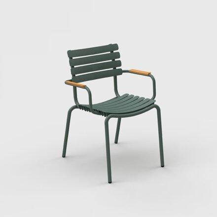 """Houe """"ReClips"""" Gartenstuhl, Gestell Aluminium grün, Lamellen aus recyceltem Kunststoff, grün, Bambus-Armlehnen"""