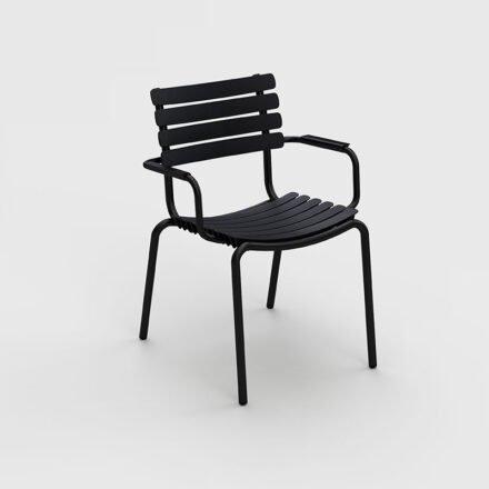 "Houe ""ReClips"" Gartenstuhl, Gestell Aluminium schwarz, Lamellen aus recyceltem Kunststoff, schwarz"