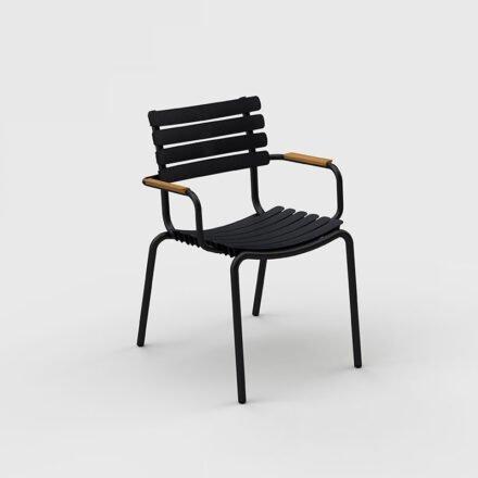 "Houe ""ReClips"" Gartenstuhl, Gestell Aluminium schwarz, Lamellen aus recyceltem Kunststoff, schwarz, Bambus-Armlehnen"