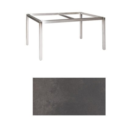 "Jati & Kebon Tischgestell ""Muri"" 160x90 cm, Edelstahl, Tischplatte HPL titanium"