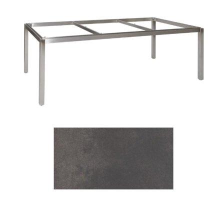 "Jati & Kebon Tischgestell ""Muri"" 220x100 cm, Edelstahl, Tischplatte HPL titanium"