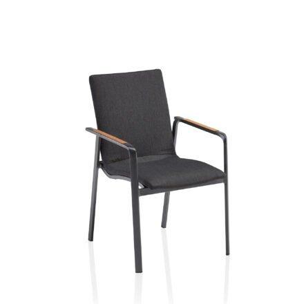 """Kettler """"Diamond"""" Stapelsessel, Gestell Aluminium Anthrazit, Sitzfläche Sunbrella® Sooty, Armlehne Teak"""
