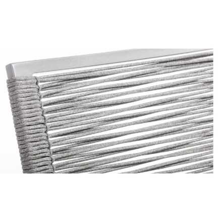 "Kettler ""Diamond"" Stapelsessel, Gestell Aluminium Silber, Sitzfläche Rope Hellgrau, Armlehne Teak, Detail Rope"