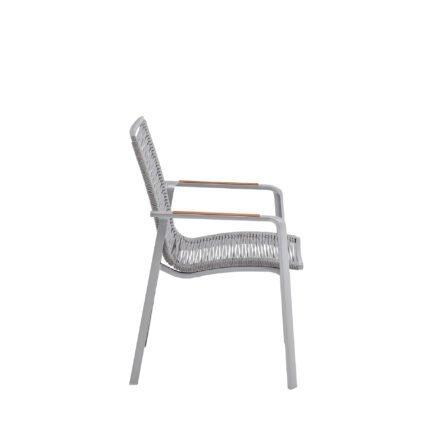 "Kettler ""Diamond"" Stapelsessel, Gestell Aluminium Silber, Sitzfläche Rope Hellgrau, Armlehne Teak"