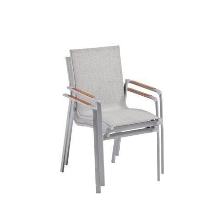 "Kettler ""Diamond"" Stapelsessel, Gestell Aluminium Silber, Sitzfläche Textilene® Hellgrau, Armlehne Teak"