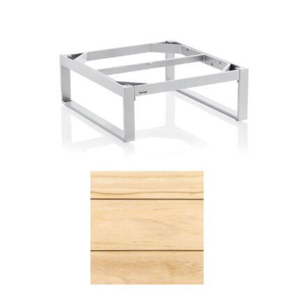 """Kettler """"Ego"""" Loungetisch 95x95 cm, Tischplatte Teak breite Leisten"""