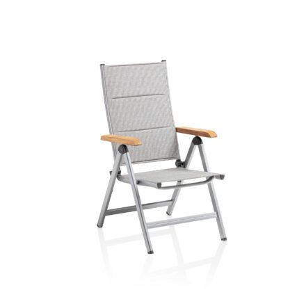 "Kettler ""Granada padded"" Multipositionssessel, Gestell Aluminium silber, Bezug Textilene® hellgrau, Armlehne Teak"