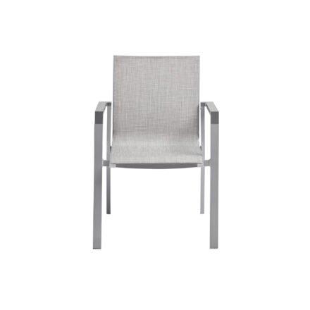 """Kettler """"Rasmus"""" Stapelsessel, Gestell Aluminium silber, Armlehne graphit, Polster Textilene® hellgrau"""