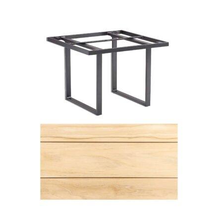 "Kettler ""Skate"" Gartentisch, Casual Dining, Aluminium anthrazit, Tischplatte Teak, 95x95 cm"
