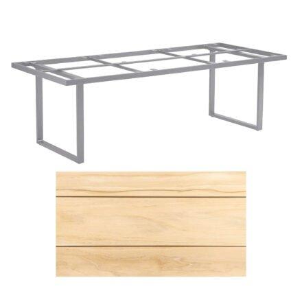 """Kettler """"Skate"""" Gartentisch, Casual Dining, Aluminium silber, Tischplatte Teak, 220x95 cm"""