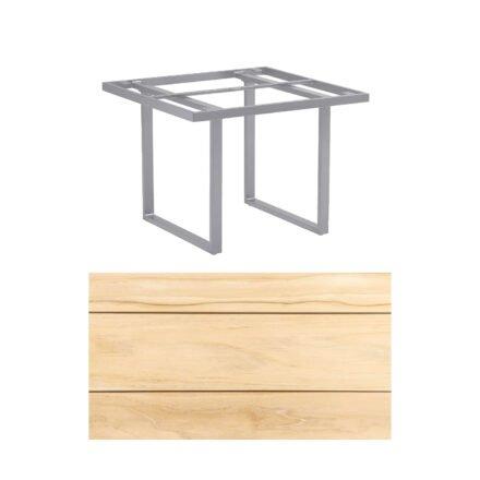 """Kettler """"Skate"""" Gartentisch, Casual Dining, Aluminium silber, Tischplatte Teak, 95x95 cm"""