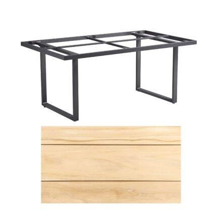 "Kettler ""Skate"" Gartentisch, Casual Dining, Aluminium anthrazit, Tischplatte Teak, 160x95 cm"