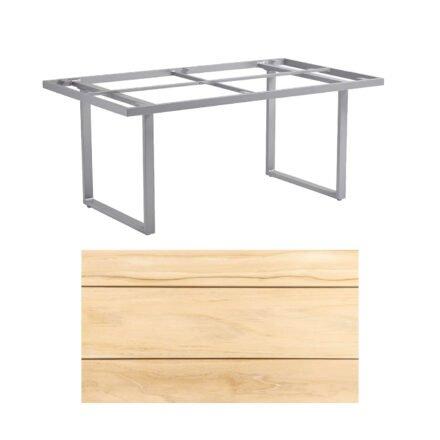 """Kettler """"Skate"""" Gartentisch, Casual Dining, Aluminium silber, Tischplatte Teak, 160x95 cm"""