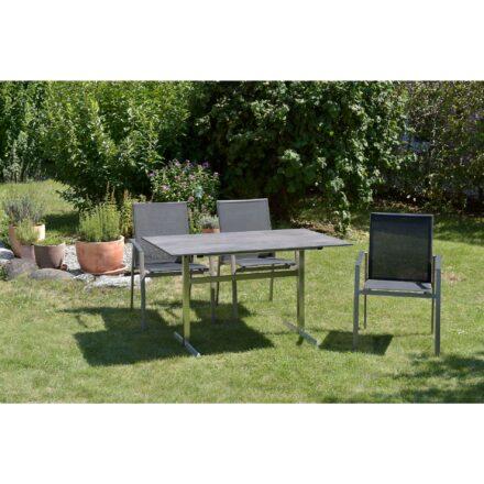 """SIT Mobilia """"Argentina II"""" Stapelstuhl, Gestell Aluminium polarsilber, Bespannung Textilen schwarz"""