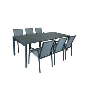 "SIT Mobilia Gartenmöbel-Set mit Ausziehtisch ""Etna"" Aluminium eisengrau/Platte Dekton Laos, 6x Stapelstuhl ""Argentina II"" Aluminium eisengrau/Textilen silber"