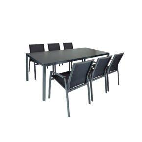 "SIT Mobilia ""Flex Plus"" Gartentisch, Gestell Aluminium eisengrau, Tischplatte Dekton sirius, mit Stapelstuhl ""Argentina"""
