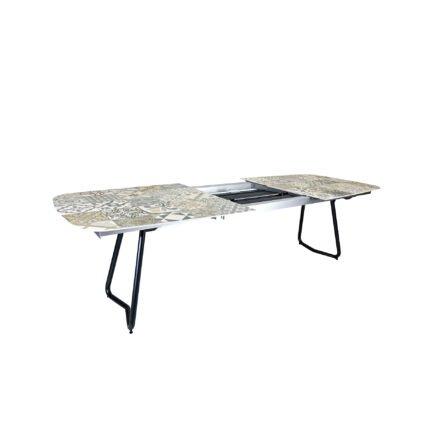 "SIT Mobilia ""Jura-Delemont"" Ausziehtisch, Gestell Aluminium eisengrau, Tischplatte Keramik Azulecho, Detail Auszug"