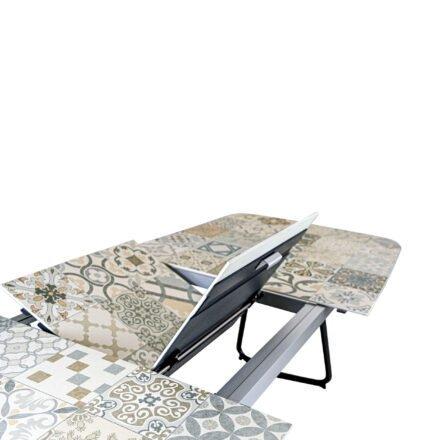 """SIT Mobilia """"Jura-Delemont"""" Ausziehtisch, Gestell Aluminium eisengrau, Tischplatte Keramik Azulecho, Detail Klappeinlage"""