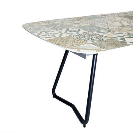 """SIT Mobilia """"Jura-Delemont"""" Ausziehtisch, Gestell Aluminium eisengrau, Tischplatte Keramik Azulecho, Detail Fuß"""
