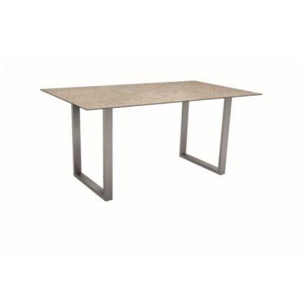 Stern Kufentisch, Gestell Edelstahl, Tischplatte HPL Vintage Shell, Tischgröße: 160x90cm