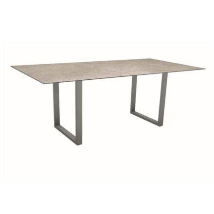 Stern Kufentisch, Maße: 200x100x73 cm, Gestell Aluminium graphit, Tischplatte HPL Vintage Shell