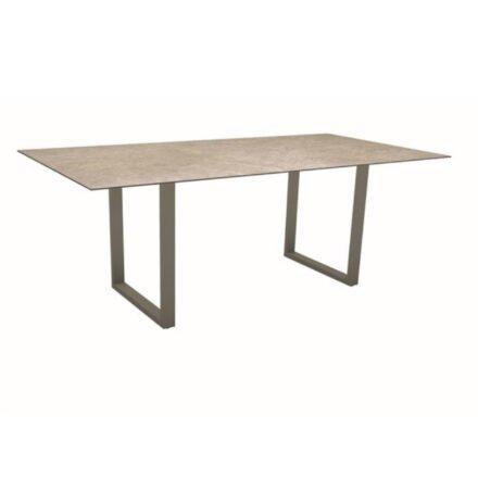 Stern Kufentisch, Maße: 200x100x73 cm, Gestell Aluminium taupe, Tischplatte HPL Vintage Shell