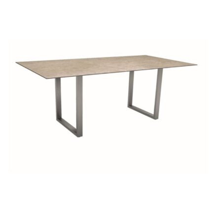 Stern Kufentisch, Gestell Edelstahl, Tischplatte HPL Vintage Shell, Tischgröße: 200x100 cm