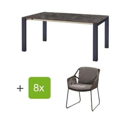 """Gartenmöbel-Set mit Ausziehtisch """"Palermo"""", Tischplatte HPL Beton dunkel und Diningsessel """"Accor"""", Edelstahl anthrazit, Sitzfläche Rope mid grey"""
