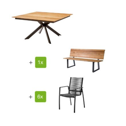 "Diamond Garden Gartentisch ""Lyon"", Tischplatte Teakholz recycelt Fase 4 Planken, Gartenbank ""Pisa"", Gartenstuhl ""Valencia"" Rope grau, Armlehnen Alu, Gestelle Edelstahl dunkelgrau"