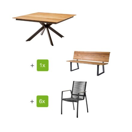 "Diamond Garden Gartentisch ""Lyon"", Tischplatte Teakholz recycelt Fase 4 Planken, Gartenbank ""Pisa"", Gartenstuhl ""Valencia"" Rope grau, Armlehnen Teak, Gestelle Edelstahl dunkelgrau"