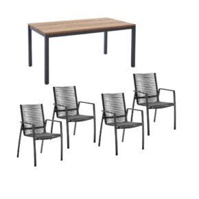 """Diamond Garden Gartenmöbel-Set mit Tisch 160x90 cm """"Ravenna"""" und Stapelstuhl """"Valencia"""", Rope grau, Edelstahl anthrazit, Tischplatte Teak, Armlehnen Alu"""