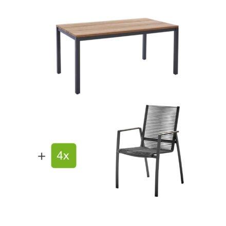"""Diamond Garden Gartenmöbel-Set mit Tisch 160x90 cm """"Ravenna"""" und Stapelstuhl """"Valencia"""", Rope grau, Edelstahl anthrazit, Tischplatte Teak, Armlehnen Teak"""
