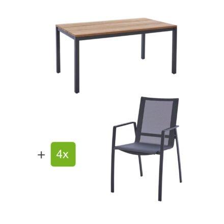 """Diamond Garden Gartenmöbel-Set mit Tisch 160x90 cm """"Ravenna"""" und Stapelstuhl """"Valencia"""", Textilen schwarz/silber, Edelstahl anthrazit, Tischplatte Teak, Armlehnen Alu"""