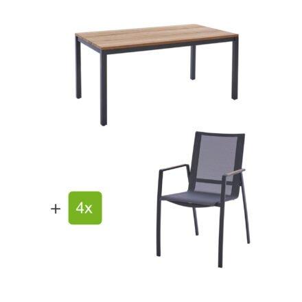"""Diamond Garden Gartenmöbel-Set mit Tisch 160x90 cm """"Ravenna"""" und Stapelstuhl """"Valencia"""", Textilen schwarz/silber, Edelstahl anthrazit, Tischplatte Teak, Armlehnen Teak"""
