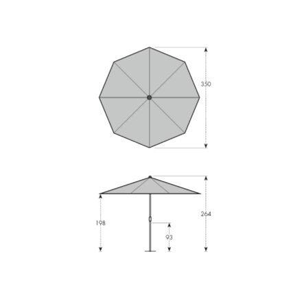 """Doppler """"Alu Wood"""" Marktschirm Ø 350 cm - Maße"""