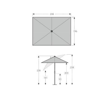 "Doppler ""Alu Wood"" Kurbelschirm 300x200 cm - Maße"