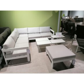 "Jati&Kebon ""Vigo"" Loungeset, Gestelle Aluminium weiß, Polster Sunbrella® shingles, Ausstellung Weil"